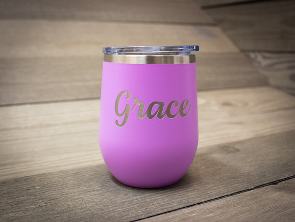 Laser Engraved Name Wine Tumbler