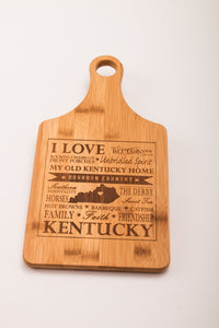 My Old Kentucky Home, Mint Julep, and Kentucky Hot Brown Bamboo Paddle Cutting Boards