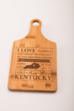 Kentucky Bamboo Paddle Cutting Board