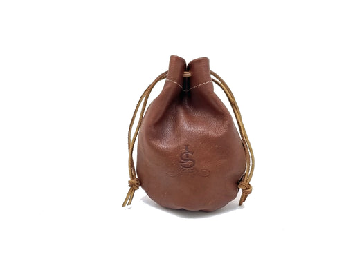 Leather Valuables Pouch with Drawstring -