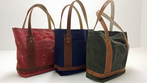Red, Navy, and Green Leather and Waxed Cotton Duck Market Bags