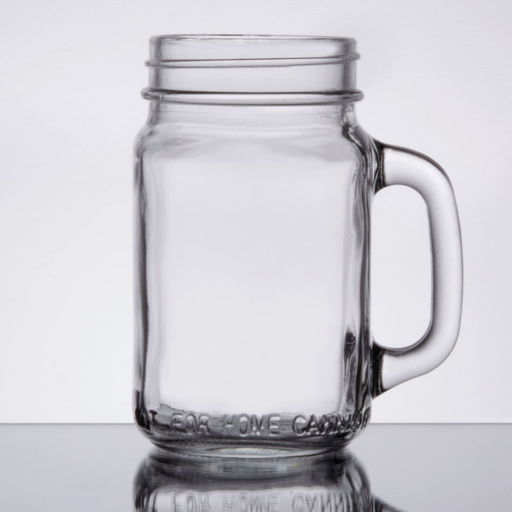 Mason Jar with HANDLE Glass - 16 ounce with