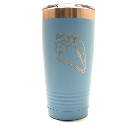 Light Blue 20oz Tumbler with Seashell Laser Engraved