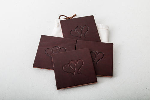 Leather Coasters - Stitched - Square Design with