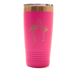 Pink 20oz Tumbler with Laser Engraved Flamingos