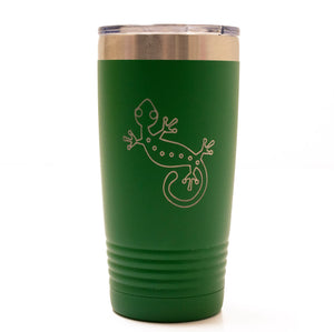 Green 20oz Tumbler with a Laser Engraved Gecko