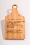 Kentucky Hot Brown Recipe Engraved on a Bamboo Paddle Board