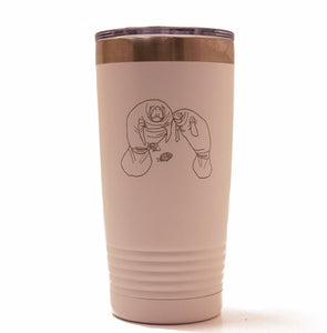 White 20oz Tumbler with Laser Engraved Manatees