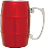 Red Metal Barrel Mug with Handle