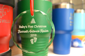 Circular Ornament Laser Engraved with Baby's First Christmas