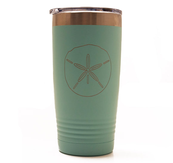 Teal 20oz Tumbler with a Sand Dollar Laser Engraved