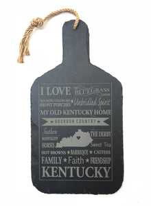 Slate Cutting Board with Kentucky Sayings and Collage Laser Engraved
