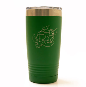Green 20oz Tumbler with Turtle Laser Engraved