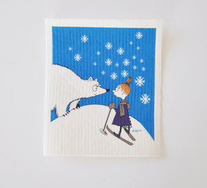 Dish Cloth - Moomin Polar Bear and Little My-Rosie Sorrell-Rosie Sorrell