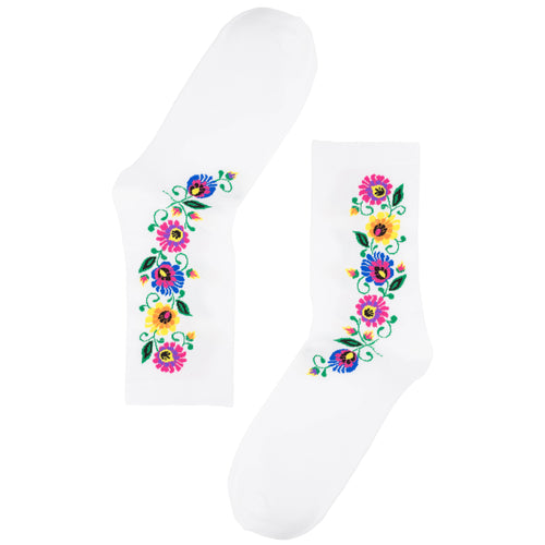 Socks - White Floral