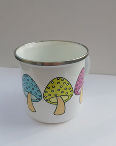Enamel/camping or Ceramic Mug - Big Rainbow Mushroom