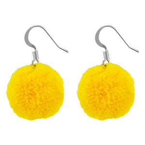 Earrings - Yellow Pom Pom