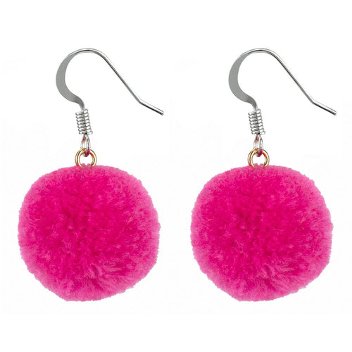Earrings - Pink Pom Pom