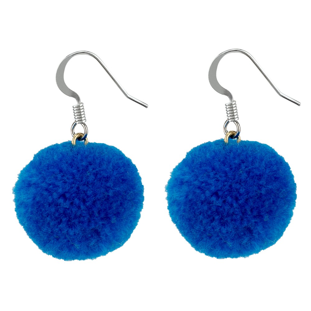 Earrings -   Blue Pom Pom