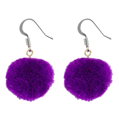 Earrings - Purple Pom Pom
