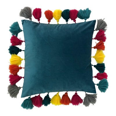 Cushion Cover - Tassles in Teal-Rosie Sorrell-Rosie Sorrell