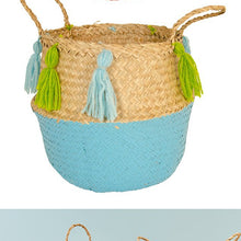 Basket - Seagrass with Tassels Pink/Turquoise-Rosie Sorrell-Rosie Sorrell