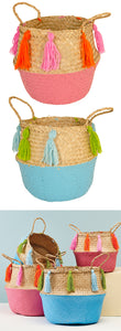 Basket - Seagrass with Tassels Pink/Turquoise