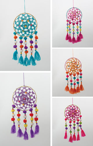 Dream Catcher - Coloured Crochet with Pom Poms
