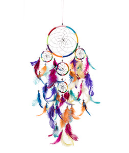 Dream Catcher - Rainbow with Beads and Feathers