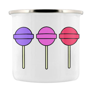 Enamel/Camping or Ceramic Mug - Rainbow Lollipops-Rosie Sorrell