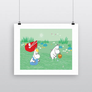 Moomin Print - Moomintroll and Snorkmaiden-Rosie Sorrell-Rosie Sorrell