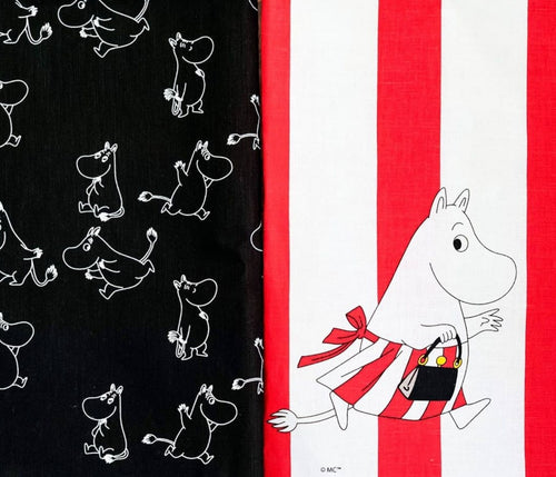 Tea Towel - Moomins (Black)-Opto Design-Rosie Sorrell
