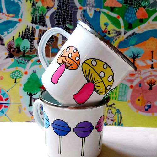 Enamel/Camping OR Ceramic Mug - Rainbow Mushrooms-Rosie Sorrell