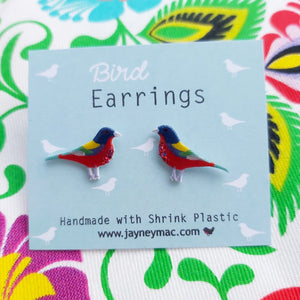 Earrings - Rainbow Bunting Bird