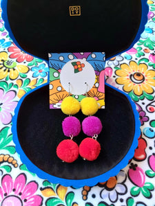 Earrings - Triple Pom Pom