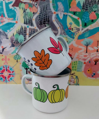 Enamel/Camping or Ceramic Mug - Autumn Leaves-Rosie Sorrell