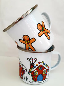 Enamel OR Ceramic Mug - Christmas Gingerbread Houses in Rainbow-Rosie Sorrell