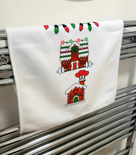 Towel - Christmas Gingerbread House Green/Red