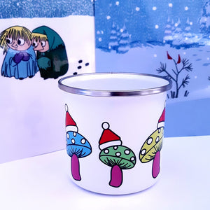 Enamel OR Ceramic Mug - Christmas Mushrooms with Hats-Rosie Sorrell