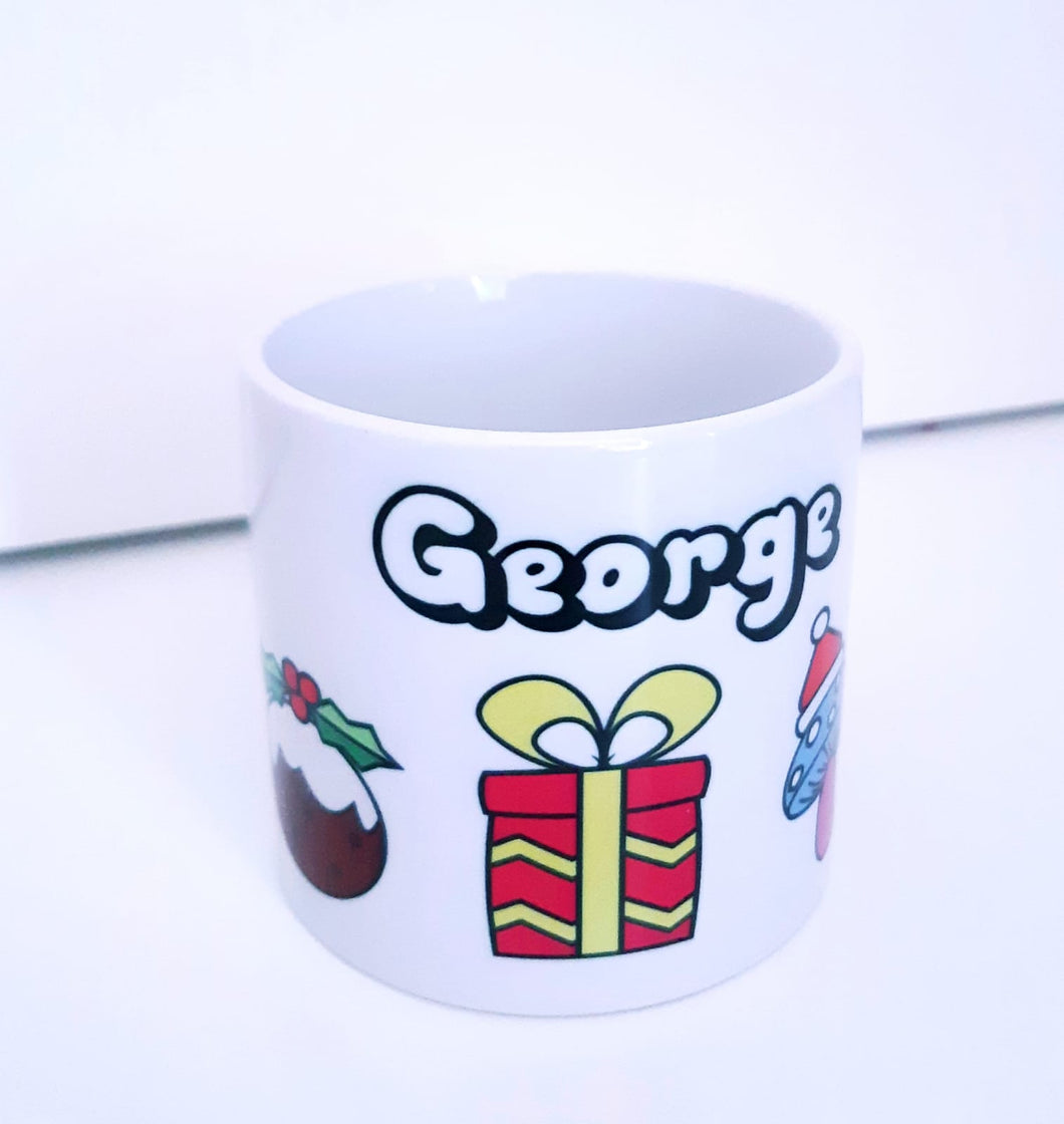 Children's Personalised Mug - Christmas Symbols-Rosie Sorrell