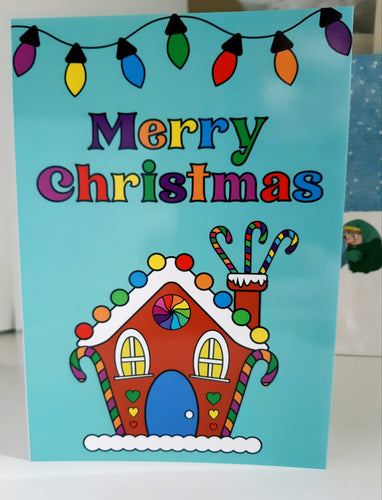 Christmas Card - Rainbow Gingerbread House
