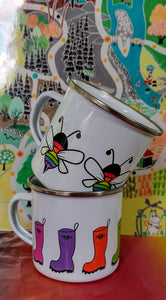 Enamel or Ceramic Mug - Rainbow Wellies