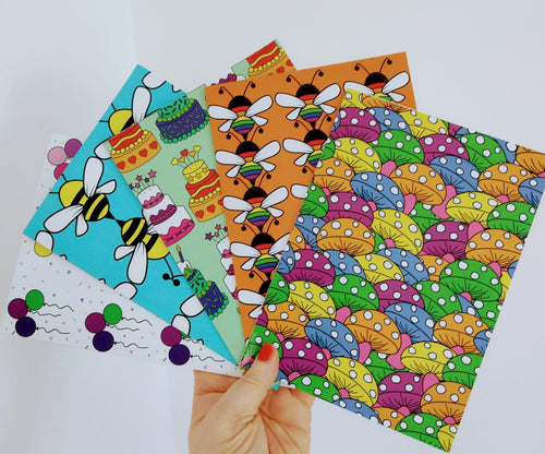 Colourful Greetings Cards - Single or Pack