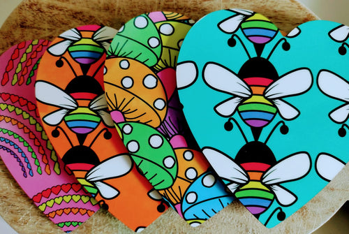 Coasters (Heart Shaped)  - Colourful Mushrooms, Bees and Rainbows