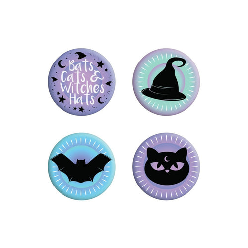 Badge 4-Pack - Bats, Cats and Witches-Grindstore-Rosie Sorrell