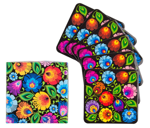 Coasters - Lowicz Black Floral-Folkstar-Rosie Sorrell