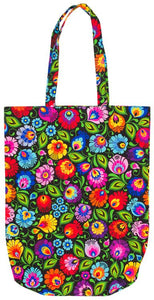 Cotton Tote Bag - Black Floral Lowicz-Folkstar-Rosie Sorrell