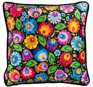 Cushion Cover - Black Floral Lowicz-Folkstar-Rosie Sorrell