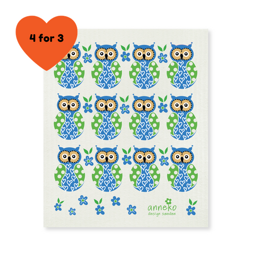 Dish Cloth - Blue Owls-Anneko Design Sweden-Rosie Sorrell