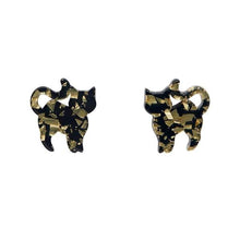 Erstwilder Cat Stud Earrings - Chunky Glitter Yellow